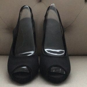 Black Satin Peep toe Slingback Heels